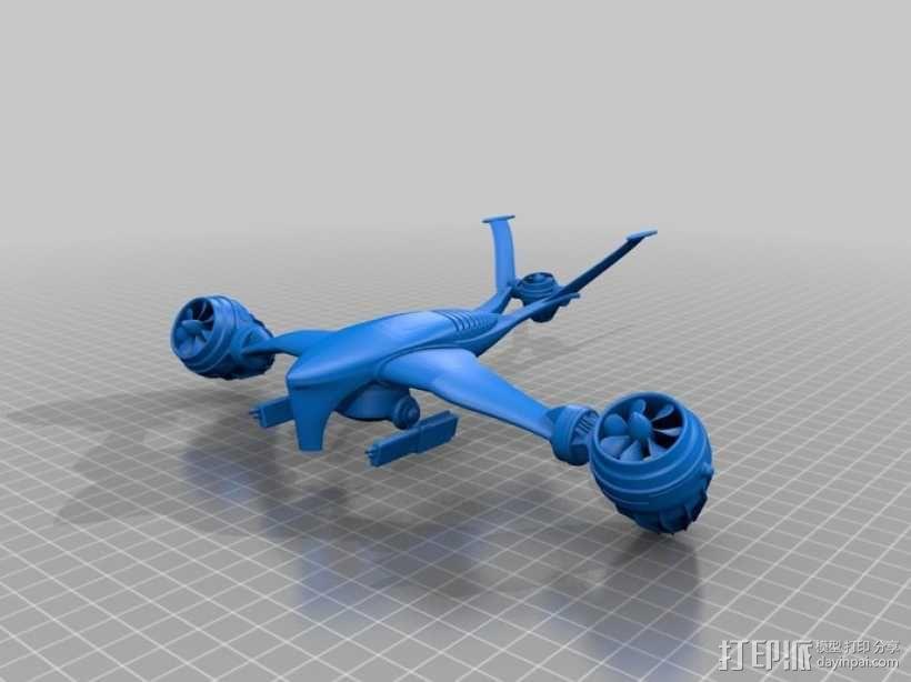 T-1 Aerial猎人杀手无人机 3D模型  图1