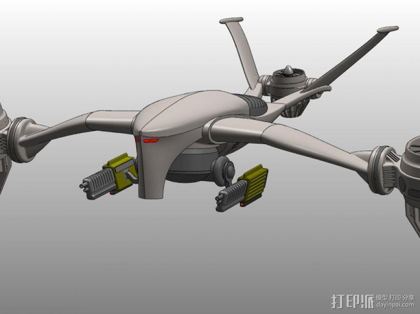 T-1 Aerial猎人杀手无人机 3D模型  图2
