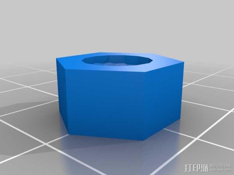标准套件 M8六角螺母和垫片 3D模型  图1