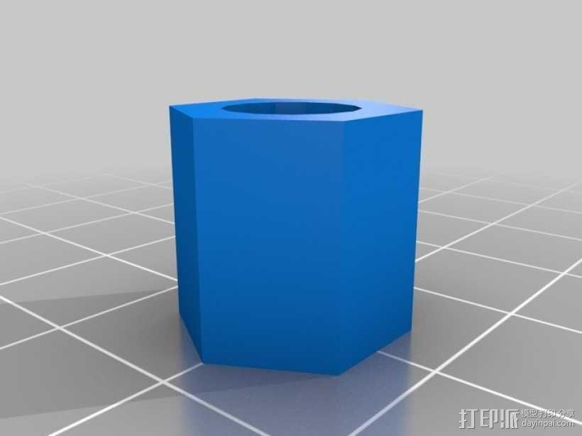 标准套件 M8六角螺母和垫片 3D模型  图3