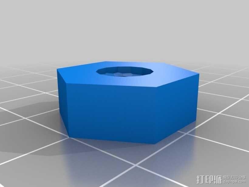 标准套件 M8六角螺母和垫片 3D模型  图4