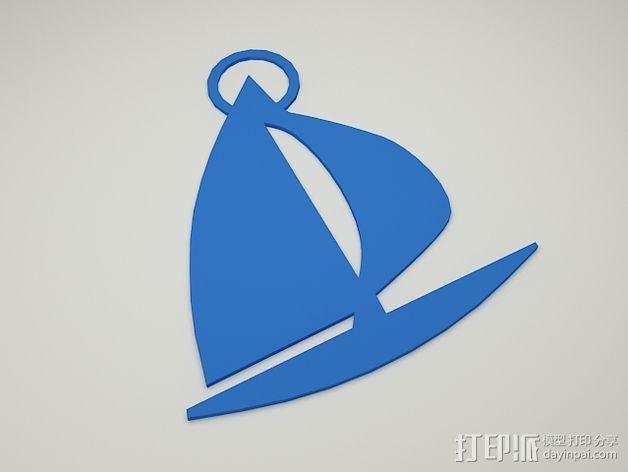 帆船钥匙扣 3D模型  图2