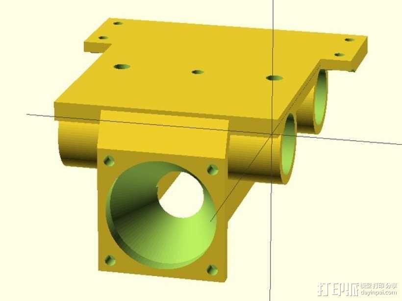 J-Head喷头支架 风扇支架 3D模型  图1