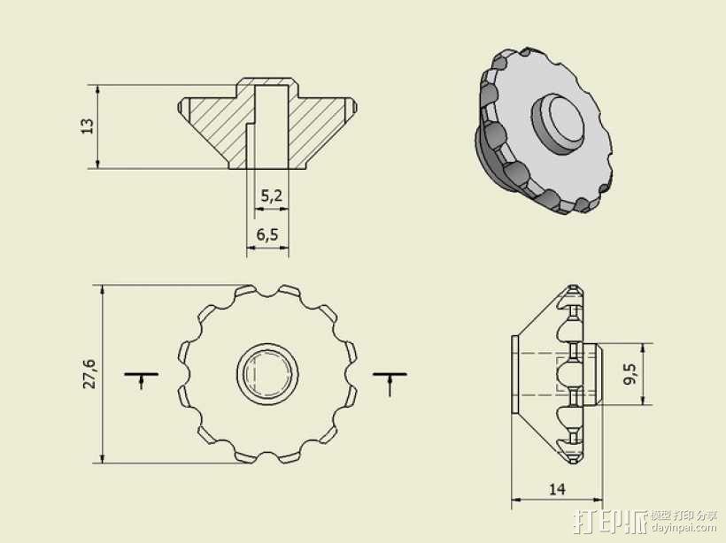 控制器旋钮 3D模型  图7