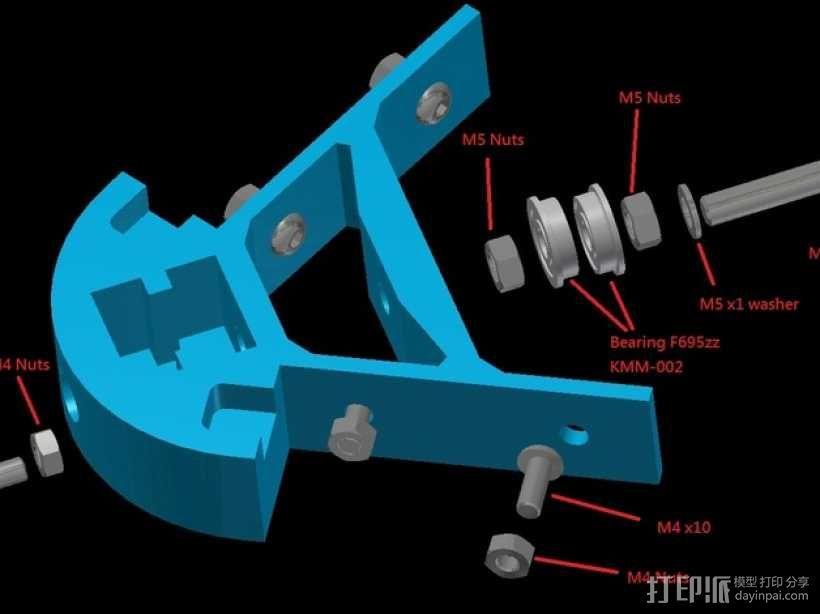 Kossel mini打印机顶部框架 3D模型  图7