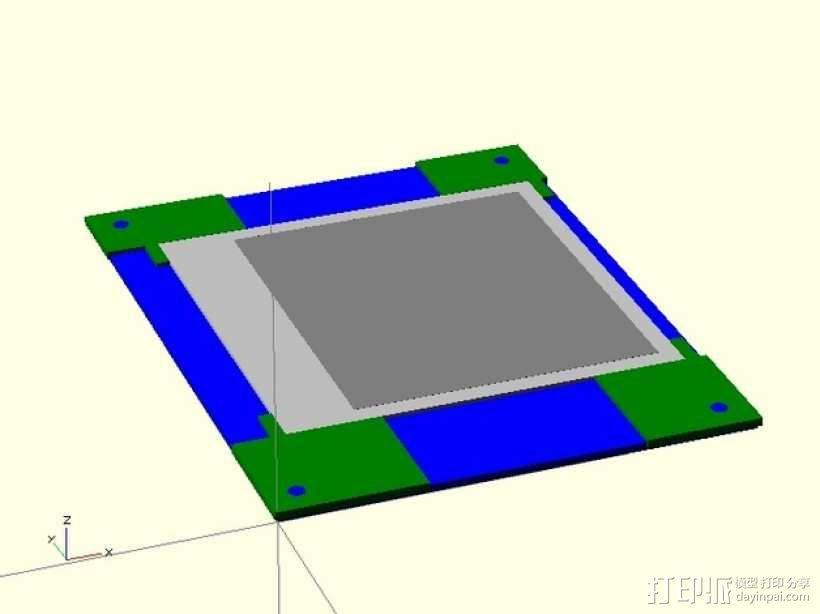 打印床镜架 托架 3D模型  图1