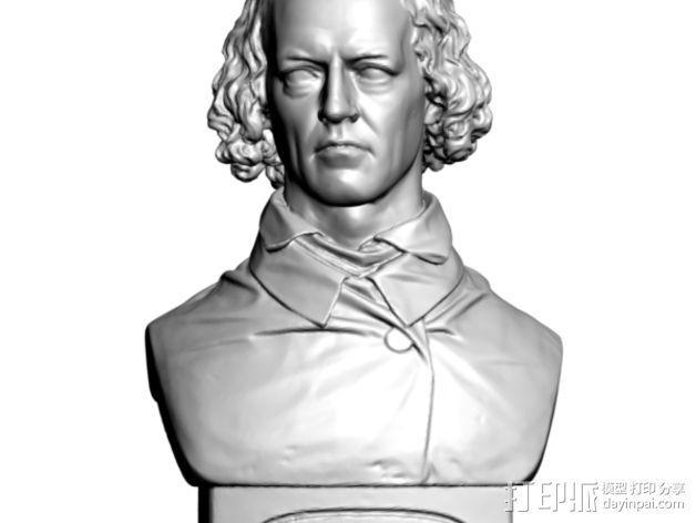 Alfred Tennyson丁尼生半生雕塑 3D模型  图1