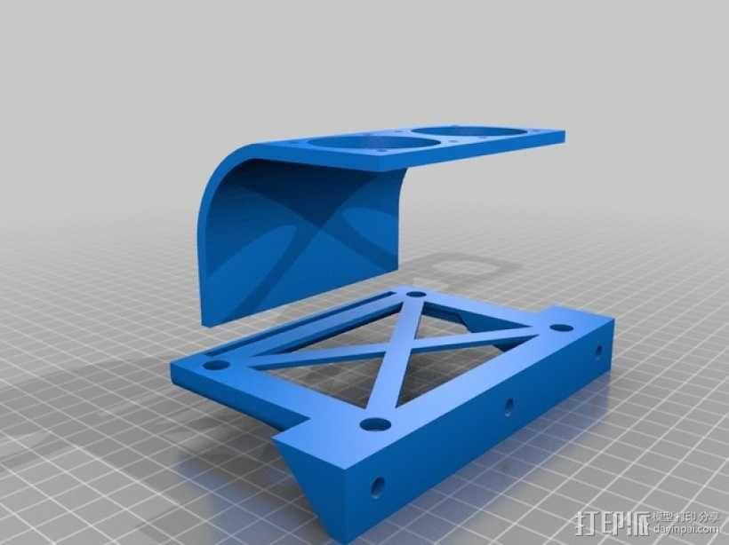 挤出机喷头支架 风扇支架 3D模型  图1