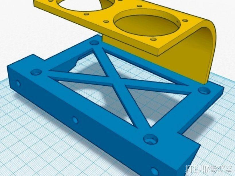 挤出机喷头支架 风扇支架 3D模型  图2