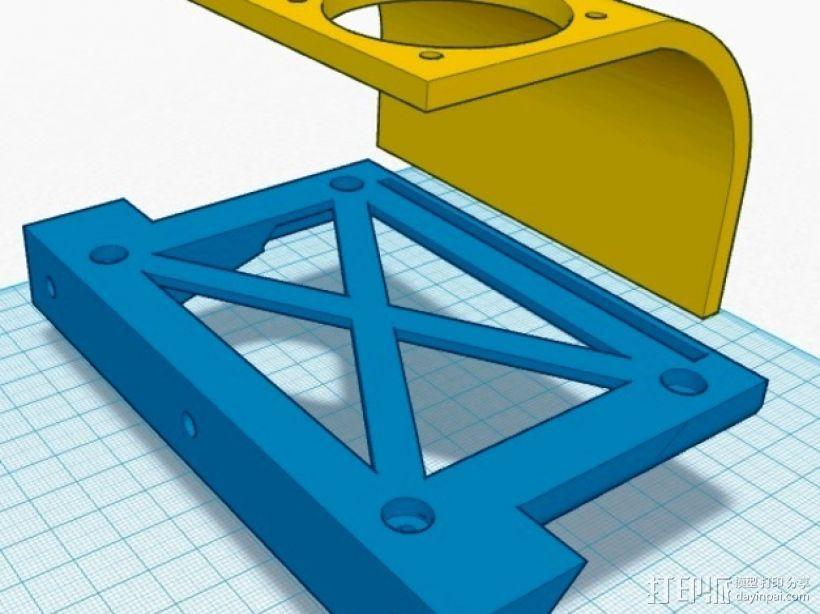 挤出机喷头支架 风扇支架 3D模型  图5