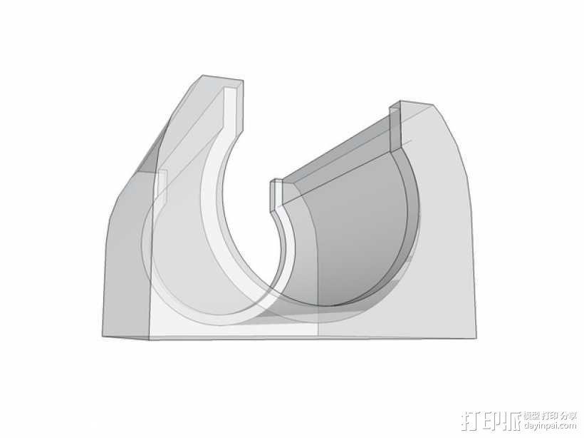 LM8UU线性轴承支架 3D模型  图4