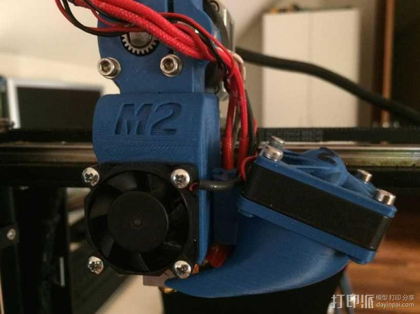 makergear m2打印机送料器和风扇导管 3D模型  图1