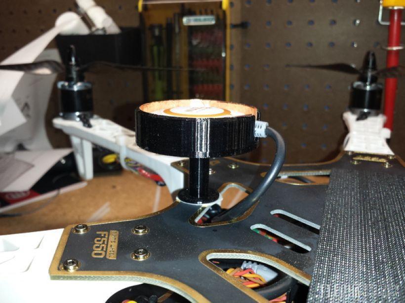 DJI Naza四轴飞行器上的GPS导航仪防护装置 3D模型  图2
