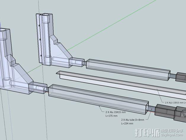 Duplicator 打印机热床支撑臂 3D模型  图2