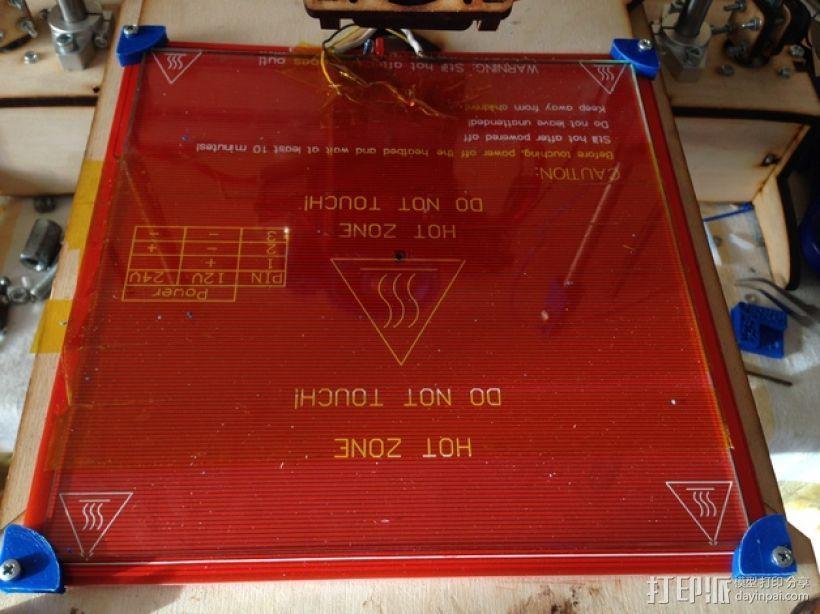 热床玻璃板夹 3D模型  图2