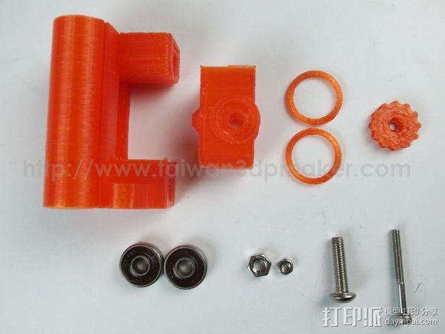 Prusa i3打印机X轴惰轮 皮带张紧器 3D模型  图3