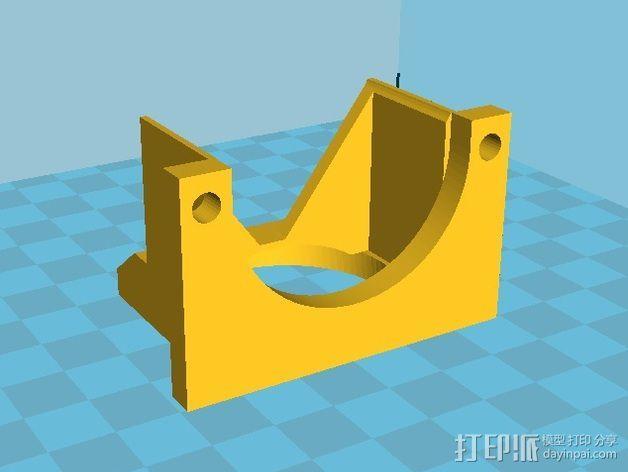 挤出机LED灯环固定架 风扇架 3D模型  图3