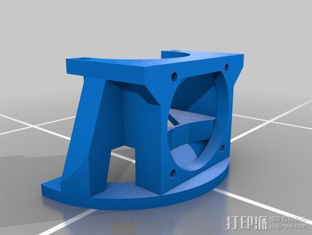 挤出机LED灯环固定架 风扇架 3D模型  图2