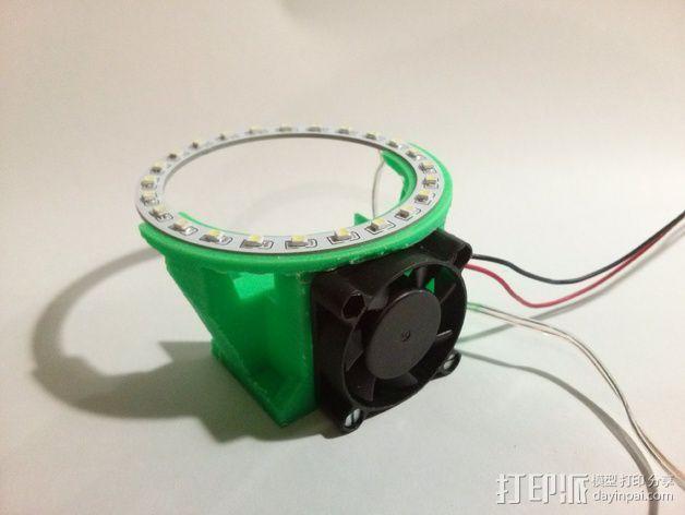 挤出机LED灯环固定架 风扇架 3D模型  图8