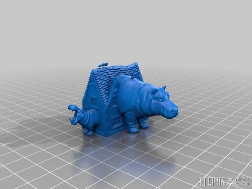 房屋 河马 3D模型  图1