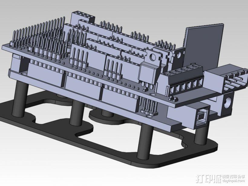 ramps 1.4 电路板安装支架 3D模型  图2