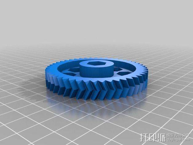 鱼骨齿轮 人字齿轮 3D模型  图4