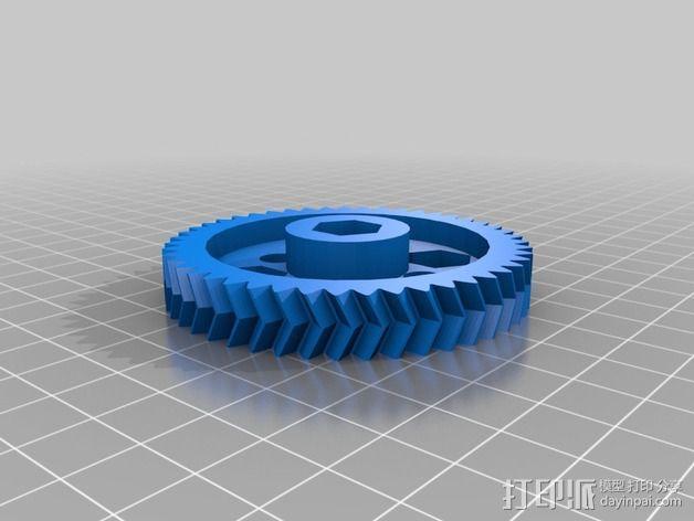 鱼骨齿轮 人字齿轮 3D模型  图3
