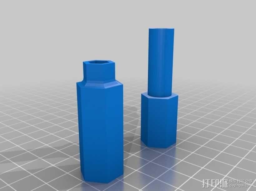 MakerGear M2打印机Z轴螺丝起子和埋头螺母转子 3D模型  图1