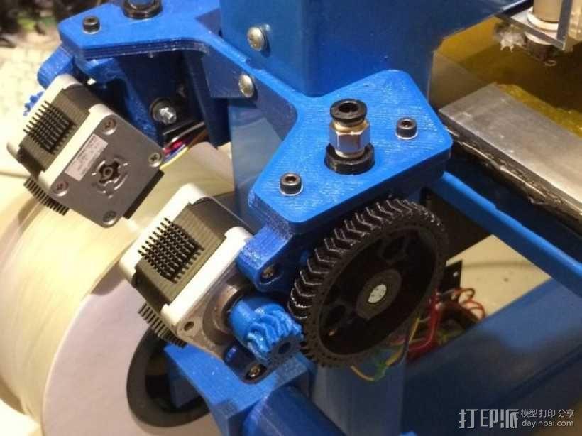 Wade's Extruder 挤出机的滚铣齿轮 3D模型  图1