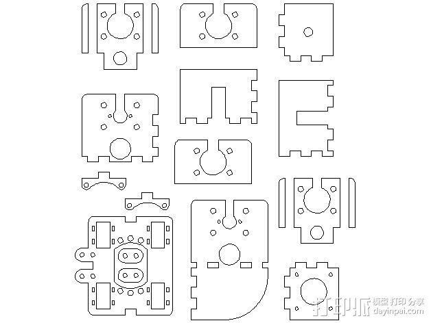 MendelMax打印机木质部件 3D模型  图14