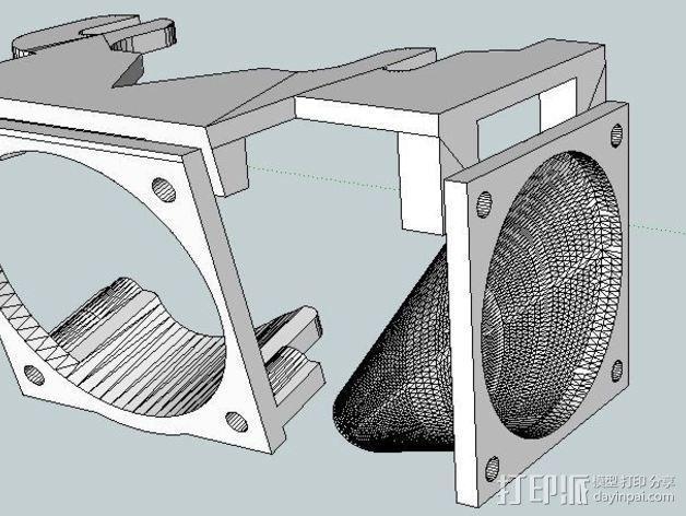 风扇支架(可安装两个风扇) 3D模型  图2