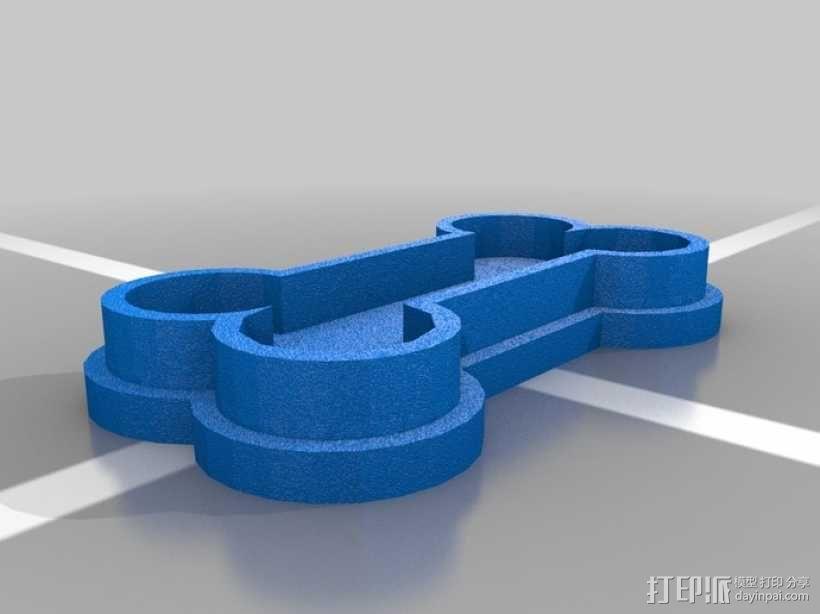 狗骨头饼干切割器 3D模型  图1