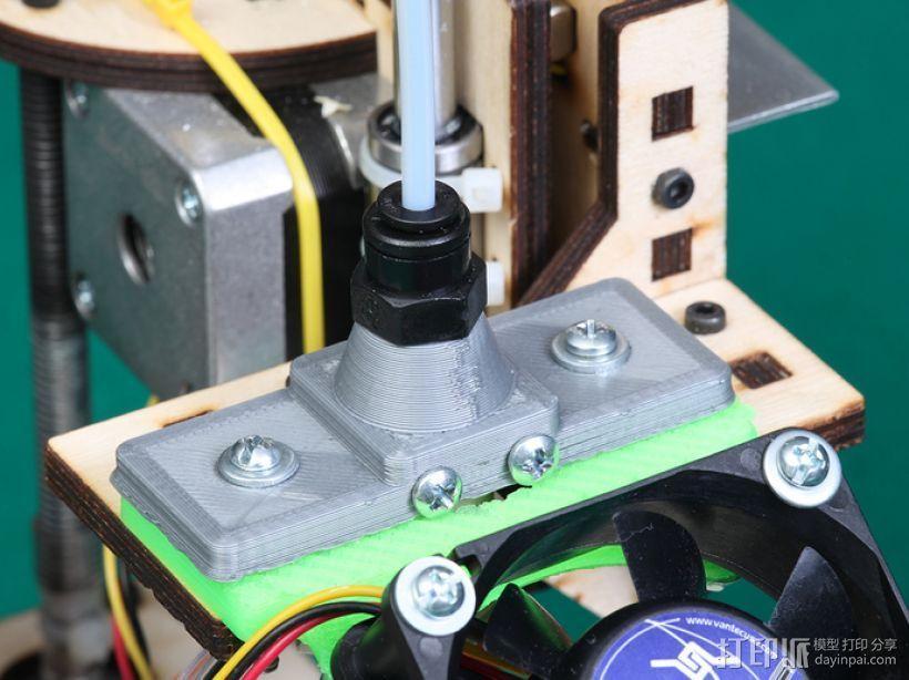 鲍登挤出机送料管 线材固定器 3D模型  图1
