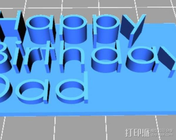 Happy Birthday Dad字母板 3D模型  图2