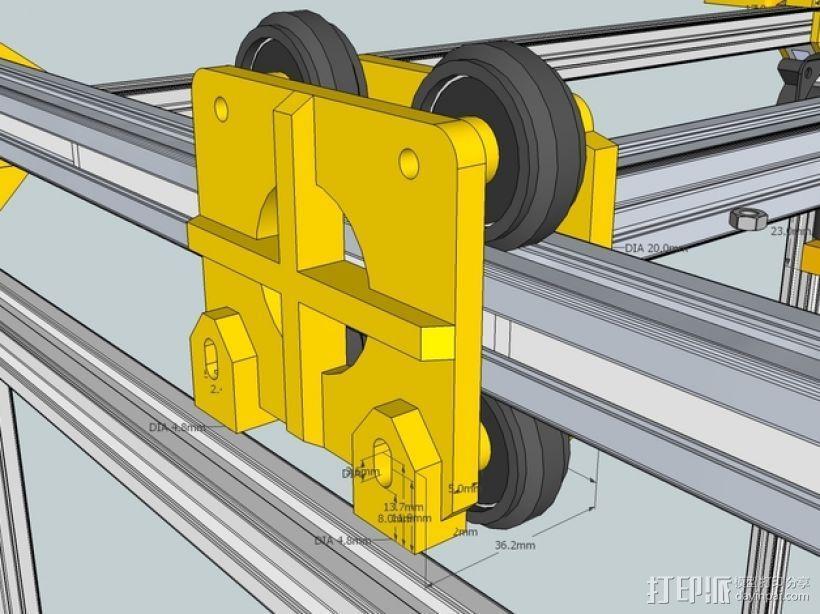 挤出机铝制门架套件 3D模型  图1