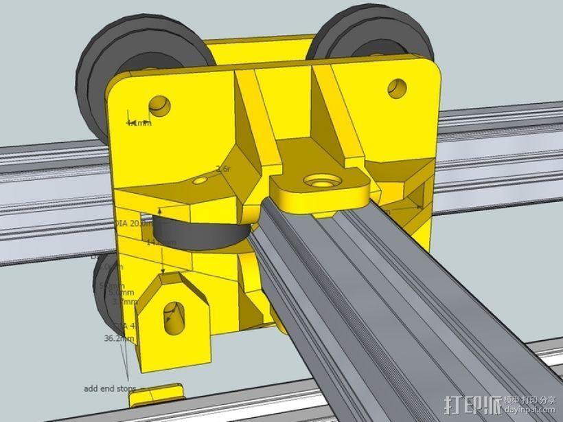 挤出机铝制门架套件 3D模型  图2