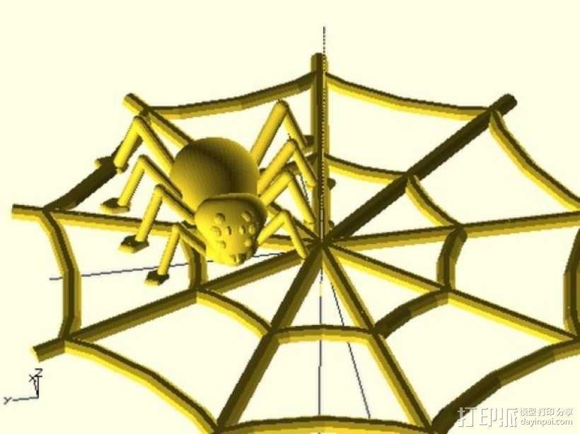 万圣节蜘蛛 蜘蛛网 3D模型  图1