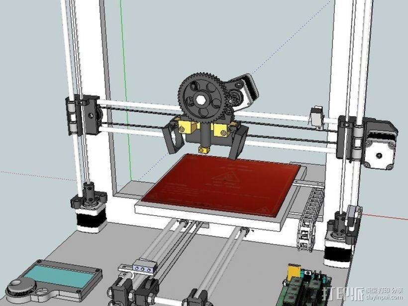 挤出机喷头支架 3D模型  图3
