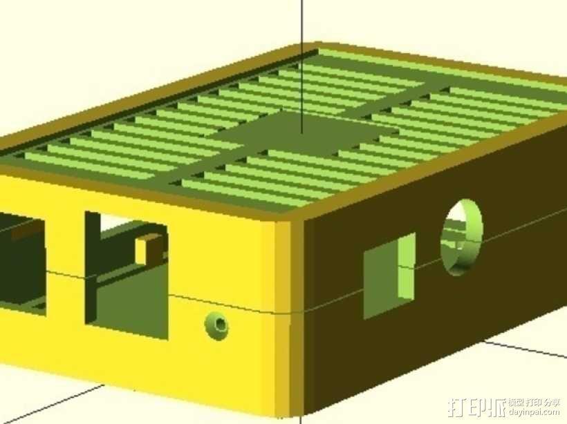 树莓派电路板保护外壳 3D模型  图1