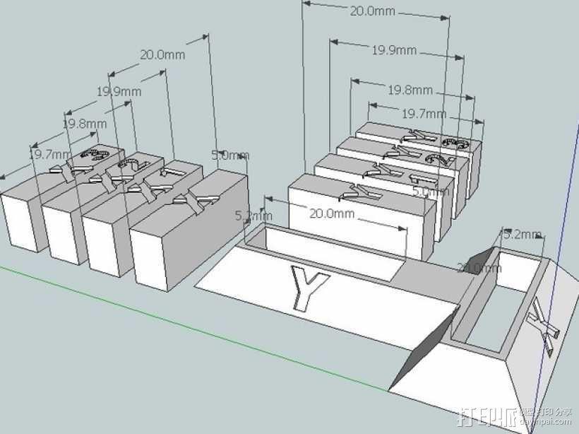 打印机X轴和Y轴的校准器 3D模型  图2