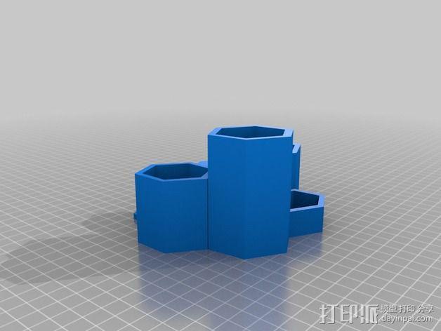 六边形的收纳盒 3D模型  图2