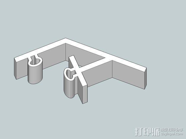 控制器LCD显示屏支架 3D模型  图1
