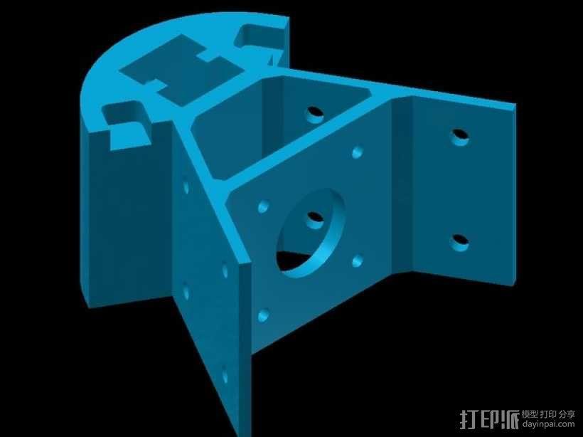 Kossel mini 打印机底部支撑器 3D模型  图4