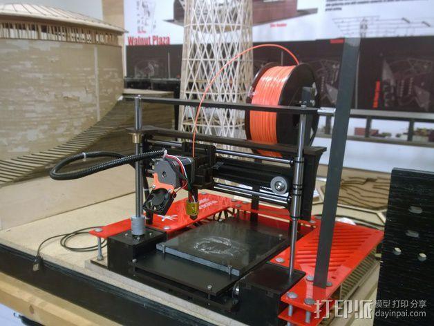 2Up打印机外罩和线轴支架 3D模型  图1