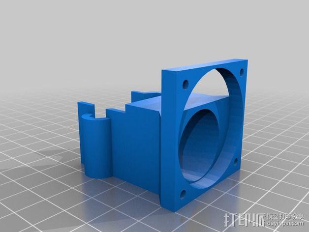 挤出机的风扇支架 风扇罩 3D模型  图2