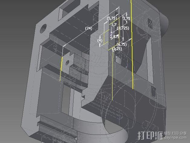 自动调平器马达支架 3D模型  图4
