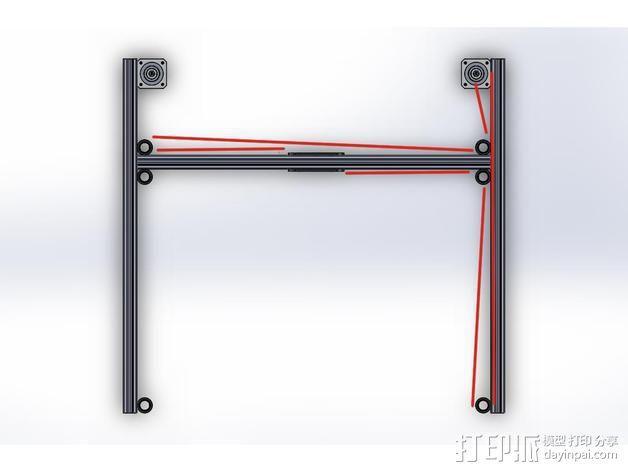 打印机的门架 3D模型  图3