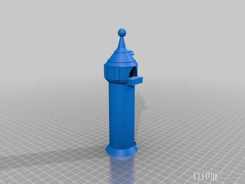 迪士尼长发公主的塔 3D模型  图1