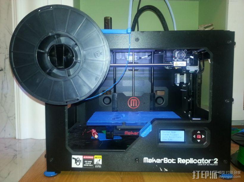 MakerBot Replicator 2 打印机的线轴支架 3D模型  图1