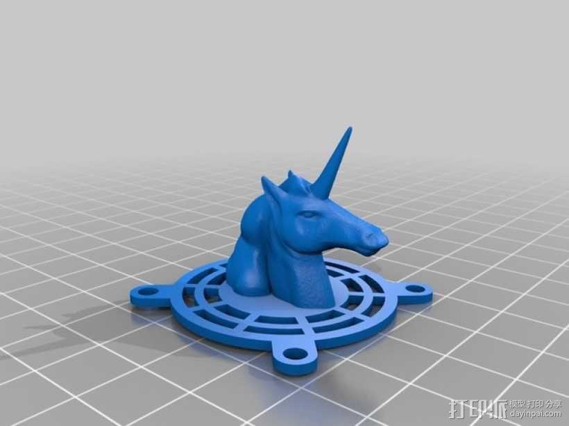 独角兽风扇装饰 3D模型  图2